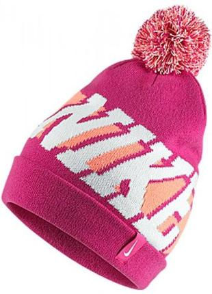Новая. оригинал. яркая шапка с помпоном nike. made in taiwan. зима