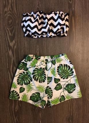 Стильная хлопковая пижама топ бандо и шорты
