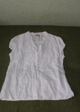 Белая льняная блуза рубашка классика