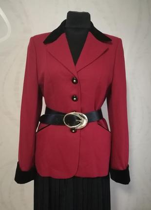 Шерстяной жакет пиджак с бархатной отделкой италия размер м-л