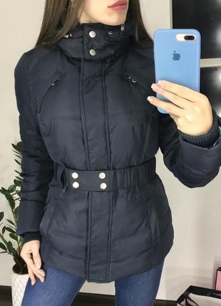 Тёплый  синий пуховик / зимняя удлинёная  куртка пуховик натуральный пух