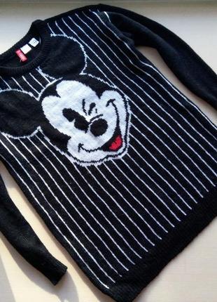Удлиненный теплый свитер с микки h&m