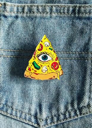 Значок пицца с глазом, брошка, брошь