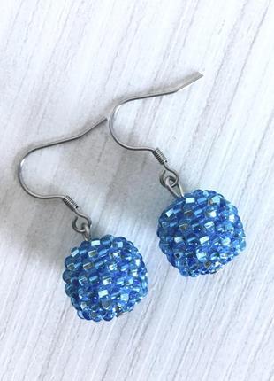 Серьги ручной работы из бисера (синие)