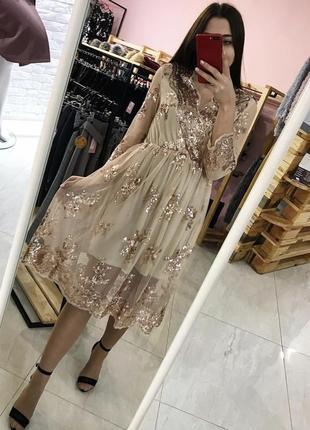 Казкове плаття-сіточка у паєтки, золотистий колір