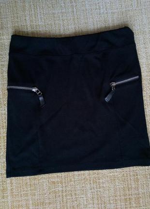 Короткая черная юбка мини с молниями/замками