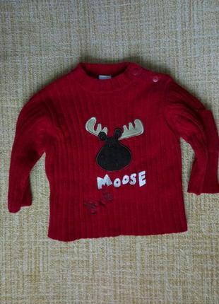 Яркий нарядный свитер с лосем 3-6 мес