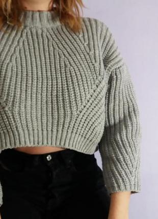 Crop кроп свитер крупная вязка объемный косы свитер серый графит