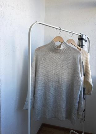 H&m свитер гольф тёплый мохер серый