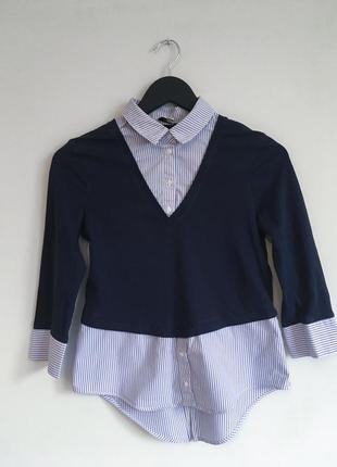 Джемпер с рубашкой обманкой, кофта, свитер {s}