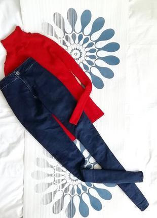 Темно синие скинни скини скіні высокой посадке талии джинсы skinny сині высокие зауженные