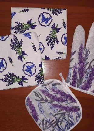 Набор подарочный кухонный для кухни (полотенца, прихватка, рукавица)