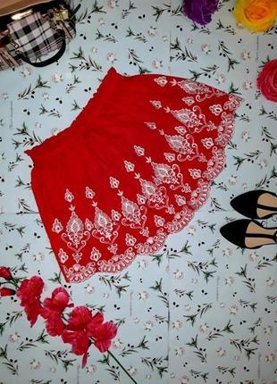 Шикарная короткая юбка с кружевной вышивкой new look, размер s - m