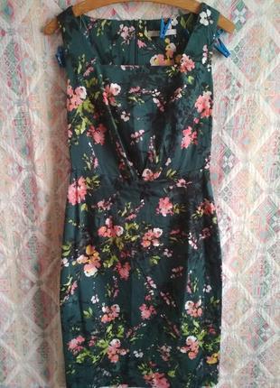 Платье с акваркльным рисунком цветочный принт