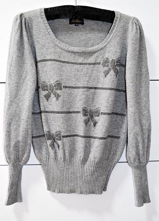 Шикарная брендовая  кофточка из шерсти с ангоркой и стразами luisa spagnoli оригинал