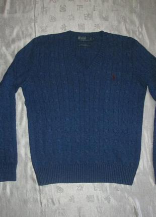 Пуловер в косы ralph lauren оригинал свитер джемпер 100% шелк