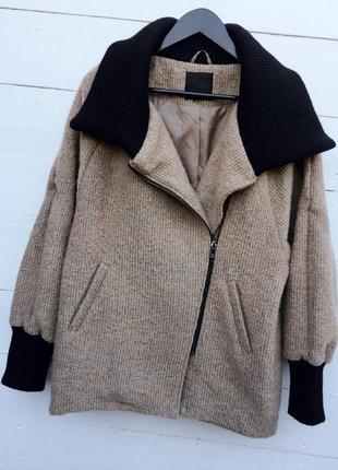 Стильное пальто-косуха/куртка/бойфренд/бомбер,бежевого цвета,демисезонное! amisu