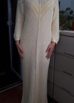Эксклюзив!вязаное длинное платье цвет ivory бесшовное трикотажное стрейч стройнит