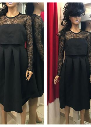 Неопренова сукня міді з рукавами asos