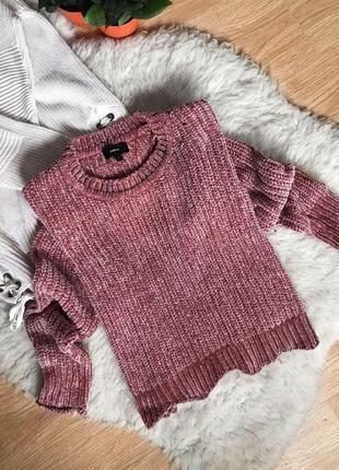 Велюровый свитер плюшевый, бархатный цвета пудры укорочённый