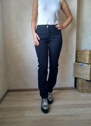 Чёрные брюки тёплые с высокой посадкой