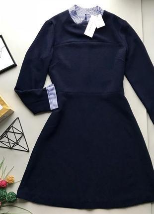Дорогое синие платья в деловом стиле / платья рубашка платья с воротником