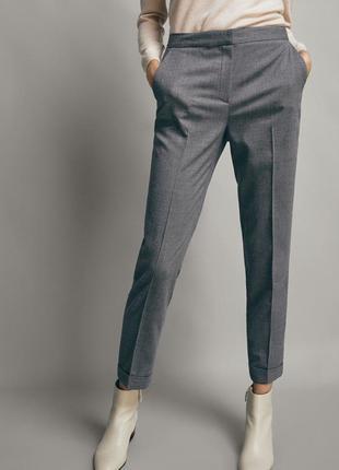 Шерстяные классические серые брюки стрелками viyella 21%wool сірі класичні штаны
