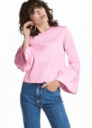 Стильна рожева блуза з рукавами - фонариками від h&m
