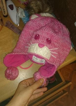 Теплая шапка кошка children place 2-4 года