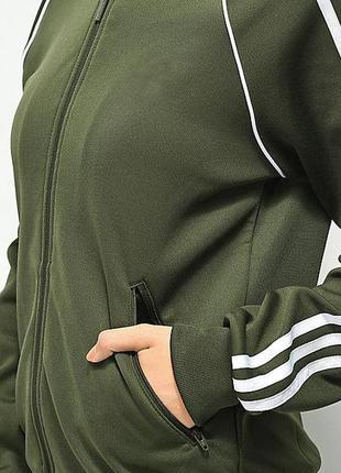 Спортивная кофта-толстовка цвета хаки с лампасами и капюшоном😍,s-m, adidas