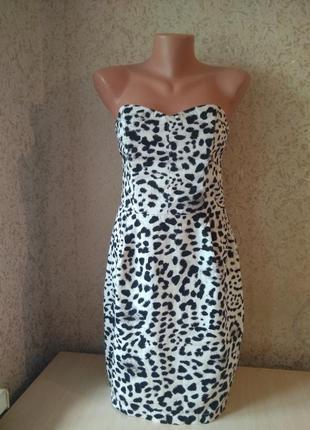 Коктейльное платье  бюстье животный принт