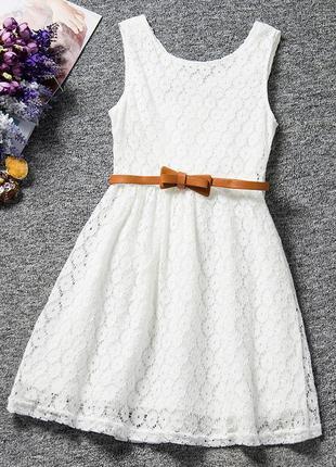 Брендовое белое ажурное миди платье tu индия