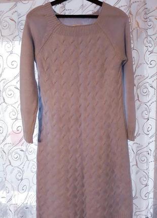 Вязаное теплое платье миди голубого цвета. турция.