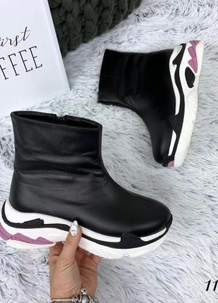Кожаные зимние ботинки флэтформы на модной подошве в стиле b@lenciaga. 36-40