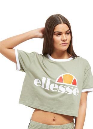 Укороченная футболка топ цвета хаки ellesse uk 12 / 40 / m оригинал