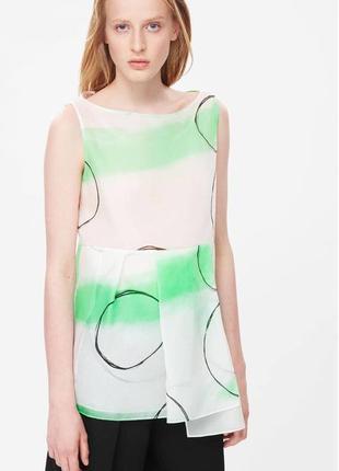 Новая 100% шёлк  органза блузка блуза топ впереди с баской