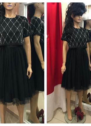 Роскошное платье миди с фотиновой юбкой рукавами asos