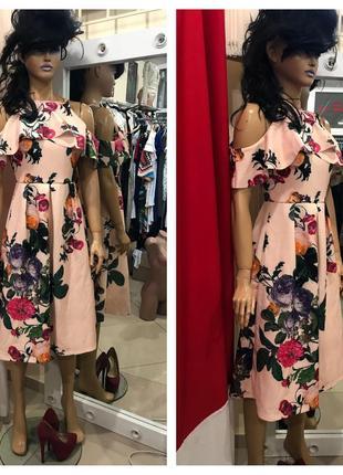 Яркое цветочное платье миди asos