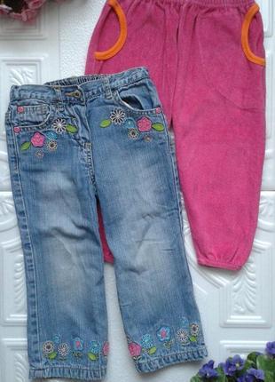 Набор штанов george (джинсы и велюровые штанишки), 92-98 см, 2-3 года