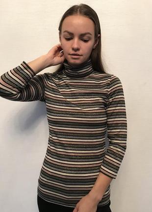 Гольф водолазка в полоску свитер кофта свитшот