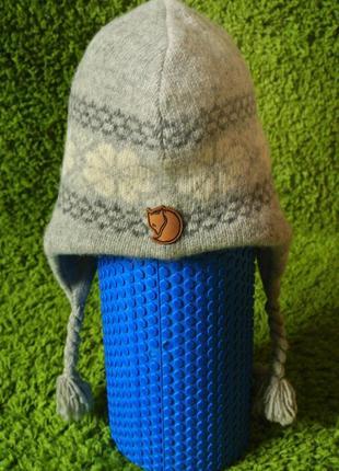 Шерстяная шапка/ вовняна тепла шапка на флісі fjallraven