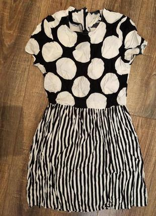 Стильное платье в полоску/в горошек сарафан
