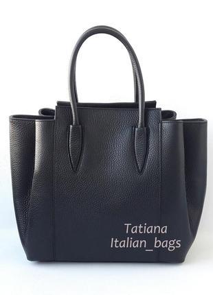 Новая коллекция. красивая кожаная сумка в деловом стиле, черная. италия.