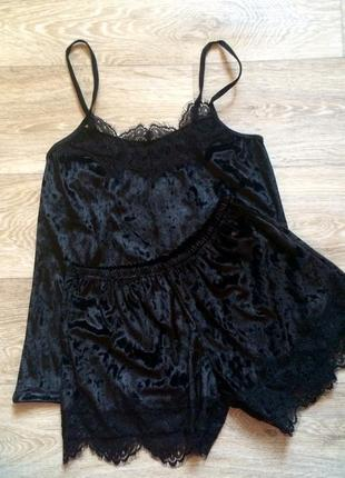 Сексуальный велюровый комплект, велюровая пижама с кружевом , комплект для сна