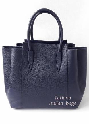 Новая коллекция. красивая кожаная сумка в деловом стиле, синяя. италия.