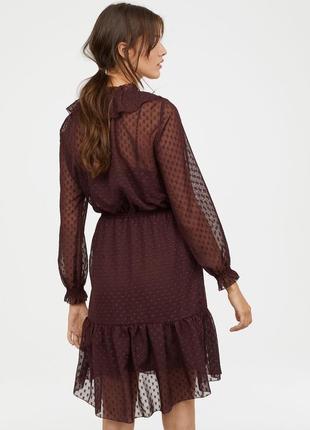 Платье в горох,горошек шифон рюши воланы бантики завязки марсала бордовое
