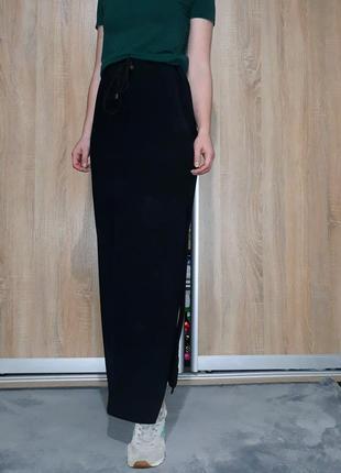 Шикарная юбка  в пол ровного кроя на высокой посадке с разрезом италия3 фото