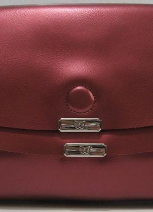 Женский кожаный клатч (красный перламутровый) 18-11-0061