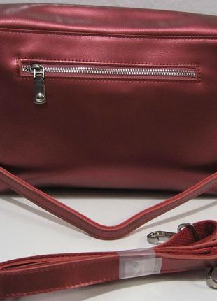 Женский кожаный клатч (красный перламутровый) 18-11-0063