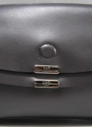 Женский кожаный клатч (серый перламутровый) 18-11-006